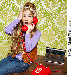 kid girl retro talking busybody in red telephone - kid girl...