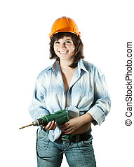 Happy girl with drill over white background