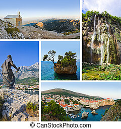 Collage of Croatia travel images - nature and tourism...
