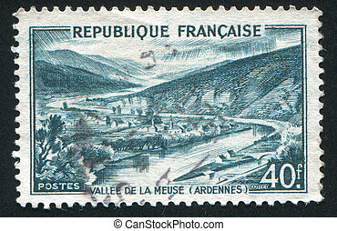 Meuse Valley - FRANCE - CIRCA 1949: stamp printed by France,...