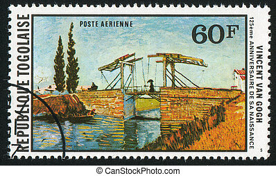 Langlois Bridge - TOGO - CIRCA 1978: stamp printed by Togo,...