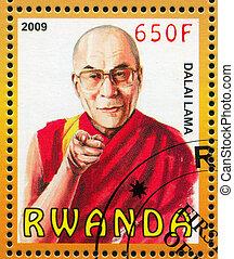 Dalai Lama - RWANDA - CIRCA 2009: stamp printed by Rwanda,...