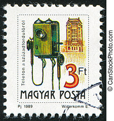 Telephon and Telephon Station - HUNGARY - CIRCA 1989: stamp...