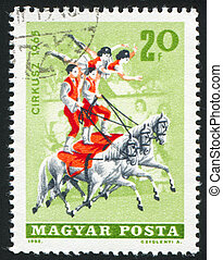 Equestrians - HUNGARY - CIRCA 1965: stamp printed by...