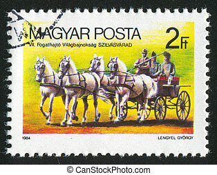 Horse-Drawn Wagon - HUNGARY - CIRCA 1984: stamp printed by...