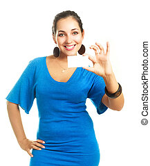 woman showing us a business card - young cheerful...