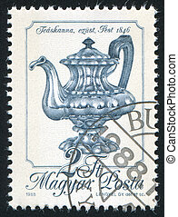 Teapot - HUNGARY - CIRCA 1988: stamp printed by Hungary,...