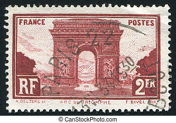 Arc de Triumph - FRANCE - CIRCA 1930: stamp printed by...