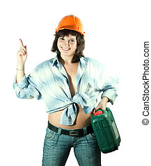 girl in hardhat pointing away - beauty girl in hardhat with...