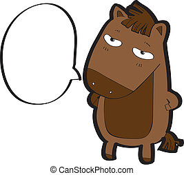 horse cartoon vector - horse with speech bubble