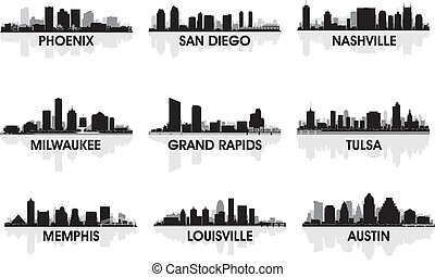 American cities skyline set