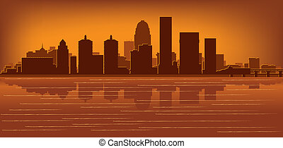 Louisville, Kentucky skyline with reflection in water