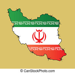 Iran - Map of Iran with flags inside enclosed by barbed wire