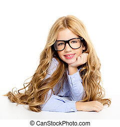 blond fashion kid girl with glasses portrait on white -...