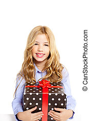 blond kid girl with present gift red ribbon box isolated on...
