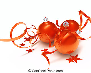 Three red Christmas toys in an environment of stars and a tinsel on a white background