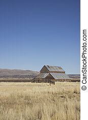 Old barn with blue sky