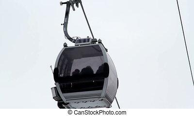 Ski Lift  - Cabin ski lift is moving down