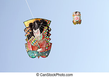 Japanese traditional paper kite and blue sky