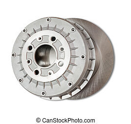 automotive parts. Car brake wheel. Isolated on white with...