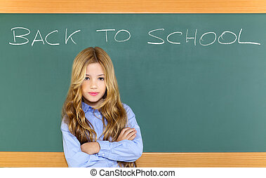 kid student girl on green school blackboard with written...