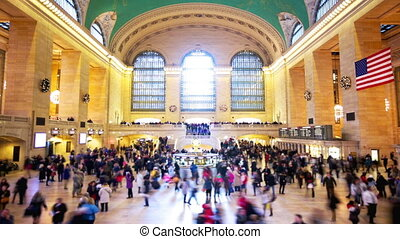 Grand Central Station in New York City time lapse with...