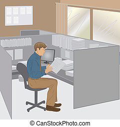 office worker - Vector illustration of office worker in his...