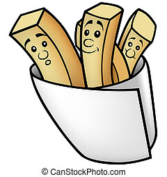 French Fries - Colored Cartoon Illustration, Vector