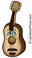 Acoustic Guitar - Colored Cartoon Illustration, Vector
