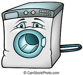 Washing Machine - Colored Cartoon Illustration, Vector