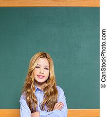 kid student girl on green school blackboard