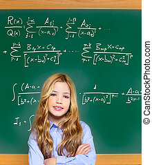 kid smart student girl with difficult math formula on green...