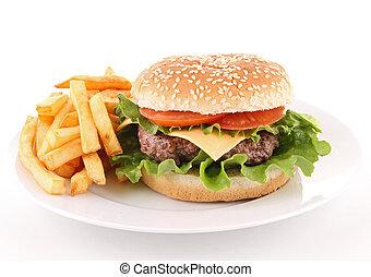 aislado, hamburguesa
