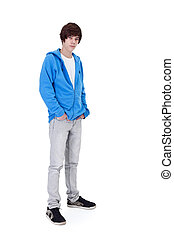 Teenager boy standing - isolated