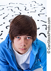 Teenager boy with questions
