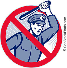 Police Brutality Policeman With Baton - Illustration of a...
