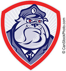 Cartoon Police Dog Watchdog Bulldog Shield - Illustration of...