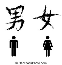 toilet sign for man and woman, in chinese calligraphy