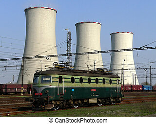 Cooling towers and locomotive - Coal power plant with...