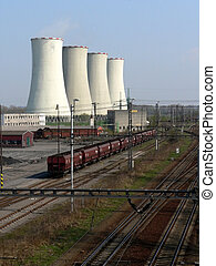 Cooling towers of power plant with wagons and track