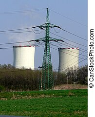 Cooling towers of power plant with electric wire