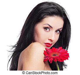 woman with a flower - sexy young brunette woman with a red...