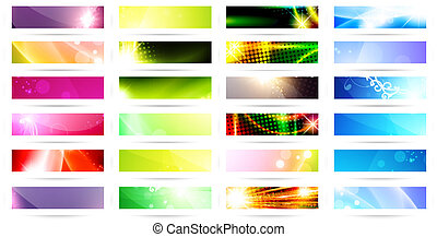 web banner set - variety of 24 horizontal multicolored web...