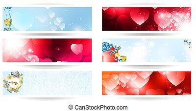 Valentine day web banner set