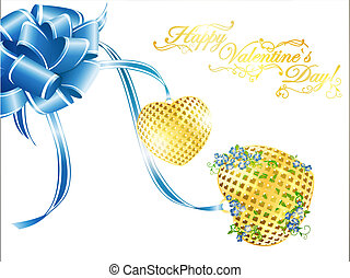 Valentine`s day golden hearts at ribbon bow with...