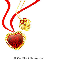 Valentine`s day hearts - Valentine`s day golden hearts over...