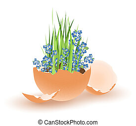 Easter egg - Easter theme with egg and growing flowers over...