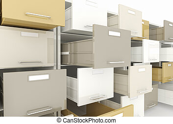 file cabinet - 3d image of open drawer of file cabinet
