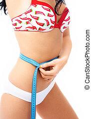 slim woman measures her waist