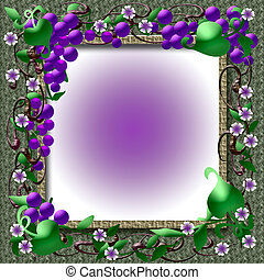 grape vine frame - grapes vines and flowers on grass weave...